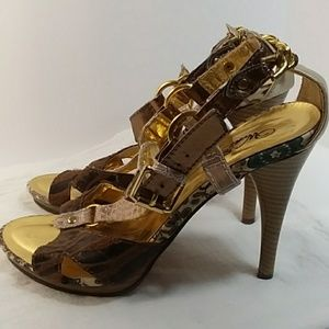 Wild Rose sz 9 Heels Gold/Animal/Crock
